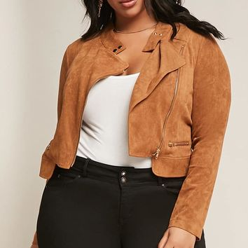 Plus Size Black Ivy Faux Suede Moto Jacket