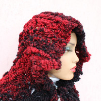 Red Hooded Scarf Tie Dye Wool Scarf Red Knit Capalet Red Christmas Scarf Knit Stole Wool Winter Scarf Knit Cape Coat EXPESS SHIPPING