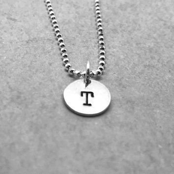 T Initial Necklace, Sterling Silver, Letter T Necklace, All Letters Available, Hand Stamped Jewelry, Gifts for Her, Everyday Jewelry