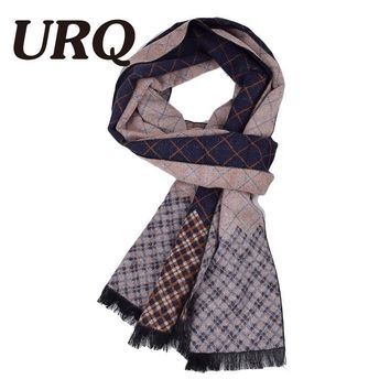[URQ] Man Checked Winter Scarves Fashion style Long Cashmere scarf soft warm Wraps Casual style Men Muffler A3A18909