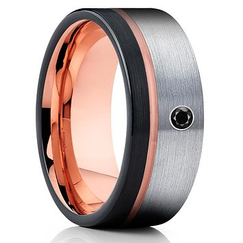 Rose Gold Tungsten Ring - Black Diamond Ring - Gray Tungsten Ring - Brush