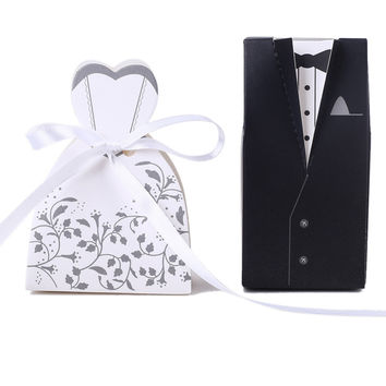 100pcs White and Black Bride and Groom Bridegroom Candy Box Paper Wedding Favors Candy Boxes Hot Sale New