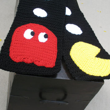 Pac-Man Scarf w/ Pac-Dots, Power Pellets, Blinky Ghost, & Pac-Man, Great for Gifts, READY TO SHIP