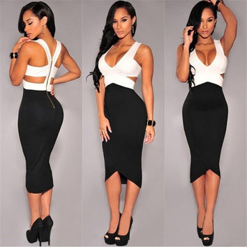 Women Sexy Sleeveless Wrapped deep vNeck Bandage Midi Bodycon Slim Dress = 1913359172