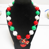 Minnie Mouse Christmas Bubblegum Chunky Beaded Necklace