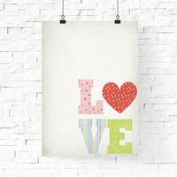 """Valentine's Day Poster, Love Heart Poster, Printable LOVE Wall Art, 8""""x10"""" Instant Download - LOVE Digital Print - Home Decor - Wall Decor"""