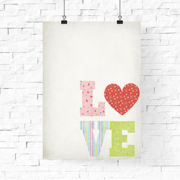"Valentine's Day Poster, Love Heart Poster, Printable LOVE Wall Art, 8""x10"" Instant Download - LOVE Digital Print - Home Decor - Wall Decor"