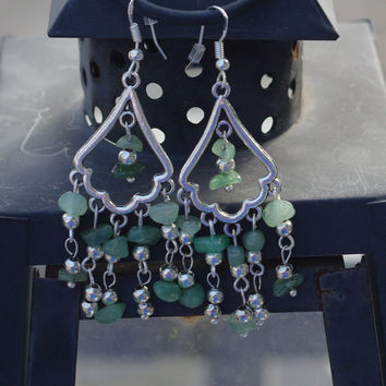 Green Jade Earrings ~ Chandelier Earrings ~ Semi Precious Stones ~ Boho Jewellery ~ Bohemian Jade ~ Spring Gift ~ Gift for Mom ~ Luck Charm