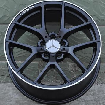 "Set of 4 18"" Staggered Black W/ Machined Lip Aluminum Alloy Wheels - 5x112 - Mercedes Benz"