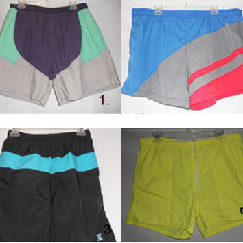 Vintage 80s Mens Lot of Swim Trunks Shorts Neon Colorblock Nike Basic Editions Surf Jax Laguna