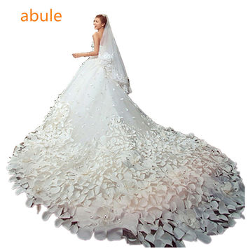 abule 2016 Luxury Soft tulle handmade Sweetheart Beads Crystal Royal train custom size Wedding Dresses vestidos de novia 9985