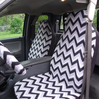 1 Set of Black/White  and grey Chevron  seat covers and steering wheel cover.
