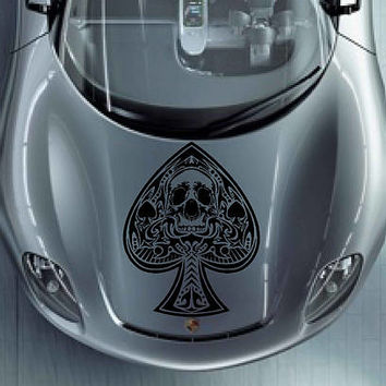 playing cards car hood decal Pike Car Decals Pike Car Truck skull Side Body Graphics Decal Sticker for car kikcar81