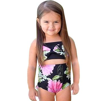 Toddler children's swimwear  Kids Girls Swimsuit Bow Bikini 2017 Set Halter Tops Swimwear Bathing Suit Tankini Clothes #E0