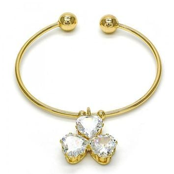 Gold Layered 07.63.0189 Individual Bangle, Heart Design, with White Cubic Zirconia, Polished Finish, Golden Tone (02 MM Thickness, One size fits all)