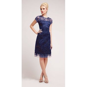 Semi Formal Knee Length Lace Navy Blue Dress Short Sleeve