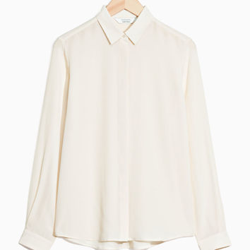 Straight Fit Silk Shirt - Off White - Blouses & Shirts - & Other Stories US