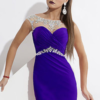 Short Homecoming Dress with Illusion Neckline by Rachel Allan