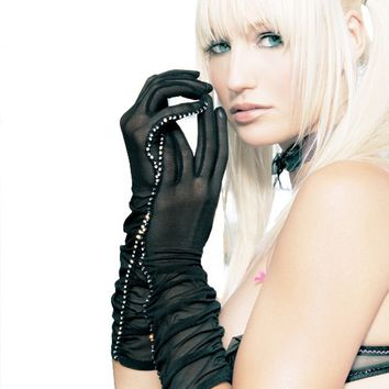 Sheer Ruched Elbow Length Gloves (One Size,Black)