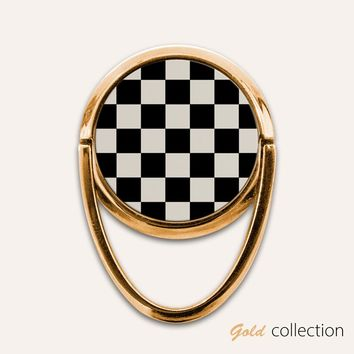Gold Checkerboard Phone Ring Finger Holder Mount Stand Grips