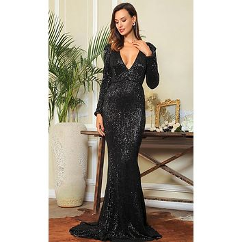 Dangerous Lover Black Sequin Long Sleeve Plunge V Neck Cut Out Mermaid Maxi Dress
