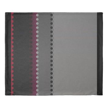Modern Burgundy Grey Black Dot Stripes Duvet Cover