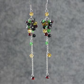 Green garnet mustard linear long chandelier Earrings Bridesmaid gifts Free US Shipping handmade Anni designs
