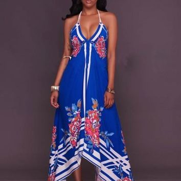 """BODYCON"" Blue Halter Backless Women's Maxi Dress"