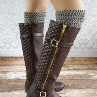 Crochet Boot Cuffs - Boot Socks - Leg Warmers - Grey - Gray - Medium Gray