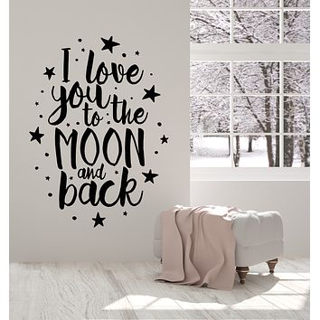 Vinyl Wall Decal Moon Stars Bedroom Romance Love Quote Stickers Mural (g1743)