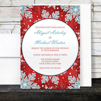 Winter Wedding Invitations - Modern Red White and Blue Snowflake design - Printed Invitations