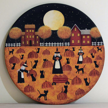 Halloween Folk Art Wood Plate - READY TO SHIP - Primitive Painting of Three Witches Picking Pumpkins, Black Cats, Full Moon, Saltbox Houses