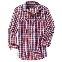 Cremieux Long-Sleeve Slim-Fit Check Woven Shirt - Cherry