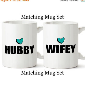 Coffee Mugs, Hubby Wifey Matching Mugs, His And Hers, Husband and Wife, Valentine's Day, Anniversary, Gifts, Set Of Mugs, Coffee Cups