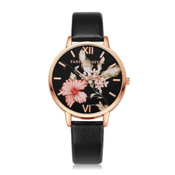 Rose Gold Flowers Women Bracelet Watch
