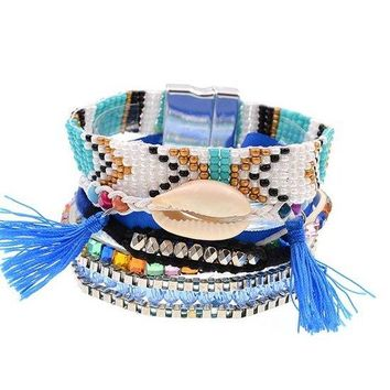 Lots Of Layers Bracelet - Blue