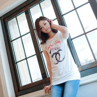 Short Cap Sleeves Pearl Accent Long Graphic Basic Tee