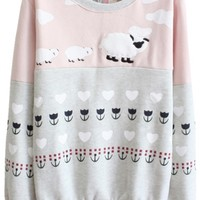 Color Block Sheep Pattern Long Sleeve Sweatshirt