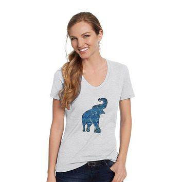 Hanes Ash Grey V Neck Shirt With An Asian Elephant With Blue Aztec Design