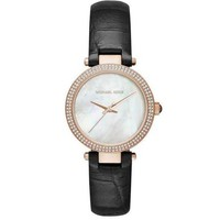 Michael Kors MK2591 Women's Mini Parker Rose Gold Tone Black Band MOP Dial Watch