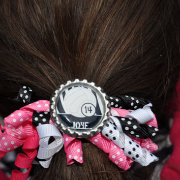 Personalized Volleyball Ponytail Holder--You choose ribbon colors-- pony tail holder, volleyball mom, voleyball team gift