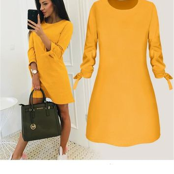 2019 women's O-neck solid color dress spring fashion loose mini dresses casual 3/4 sleeve bow elegant straigth female vestidos