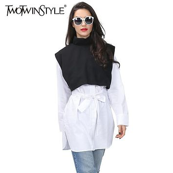 [TWOTWINSTYLE] Original 2016 Autumn Fake Two Piece Spliced Shirt Dress With Belt Lace Up Women New Black White Color