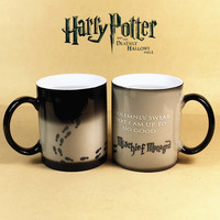 Drop shipping! Harry Potter Mug Color Changing Cup Mischief Managed Magic Coffee Sensitive Ceramic Heat Change Milk Taza Gift