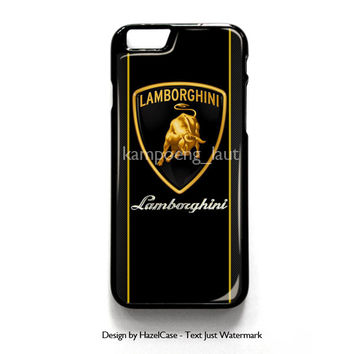 Lamborghini Logo On Carbon Tile for iPhone 4 4S 5 5S 5C 6 6 Plus , iPod Touch 4 5  , Samsung Galaxy S3 S4 S5 Note 3 Note 4 , and HTC One X M7 M8 Case Cover
