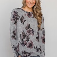 Bloom in the Dream Floral Pullover Top - Heather Grey