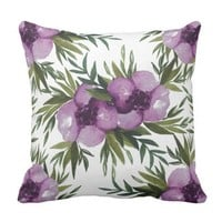 Watercolor Flowers Throw Pillow - Everlasting