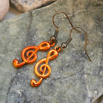 Orange Music Note Earrings - Bohemian Handmade Treble Clef Jewelry - 6 Colors To Choose From!!!