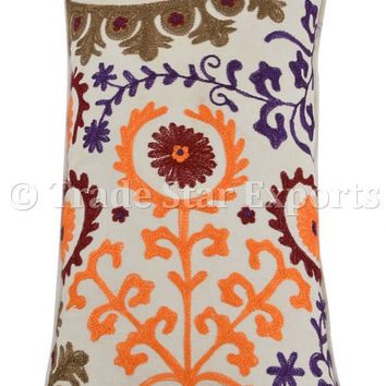 Suzani Embroidered Pillows, Floral Pattern 12x24 Pillow Cover, Bohemian Indian Pillow Shams, White Color Theme Decorative Throw Pillow Cases