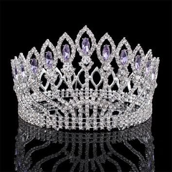 Luxurious Sparkling Crystal Baroque Queen King Wedding Tiara Crown Pageant Prom Diadem Headpiece Bridal Hair Jewelry accessories